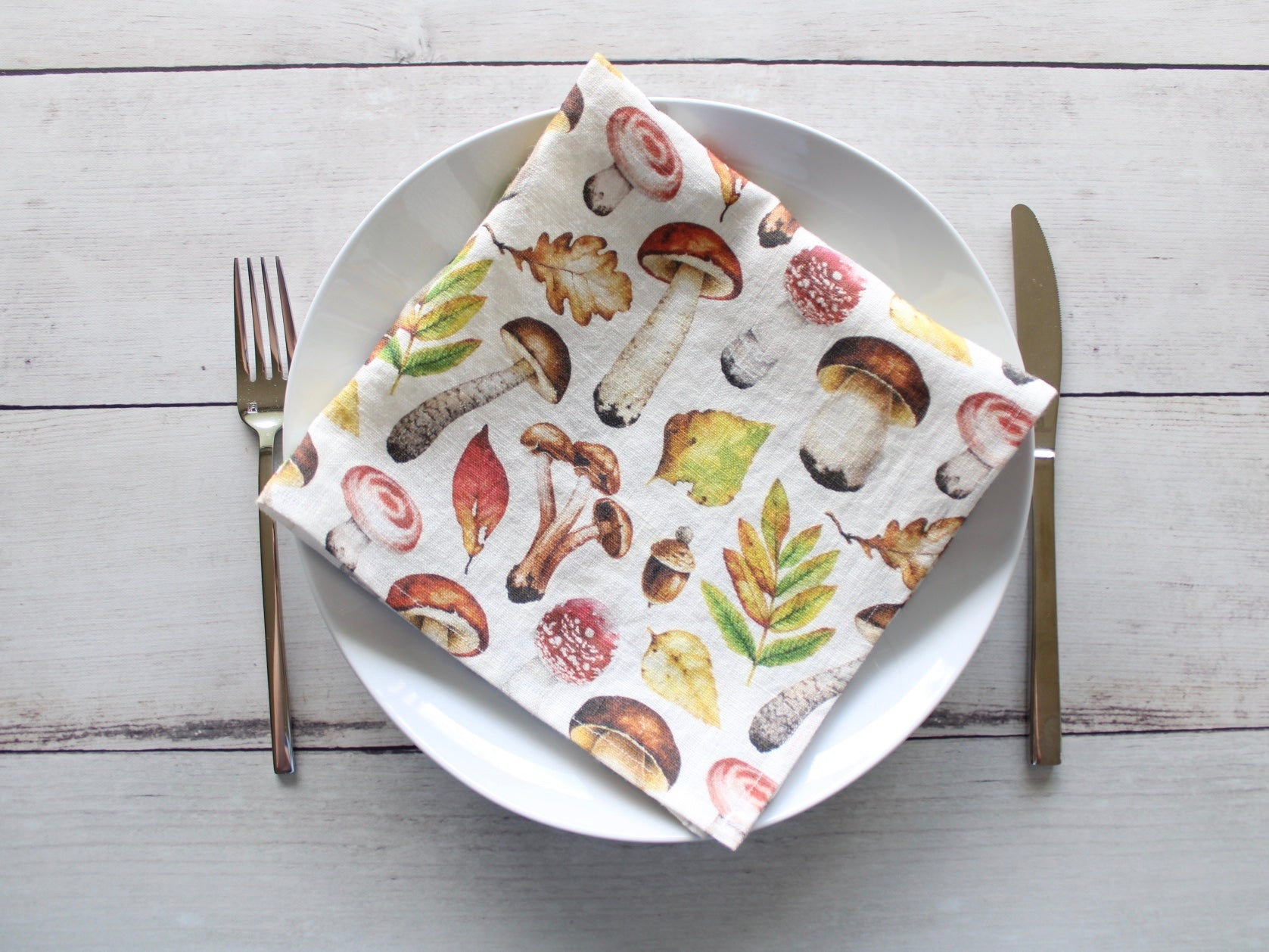 Linen napkins Autumn Forest Mushroom Collection Set of two