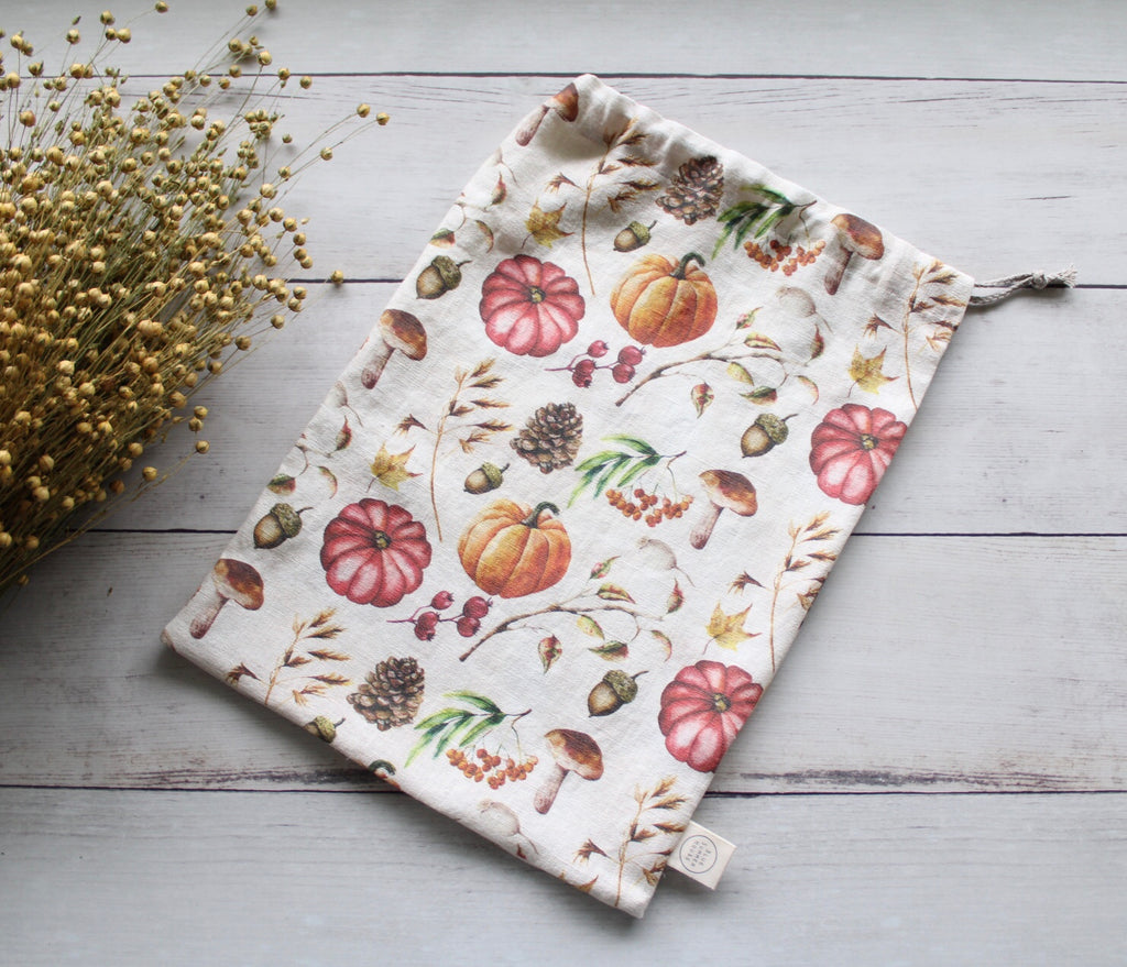 Linen Bread Bag Autumn Harvest Mushroom Collection
