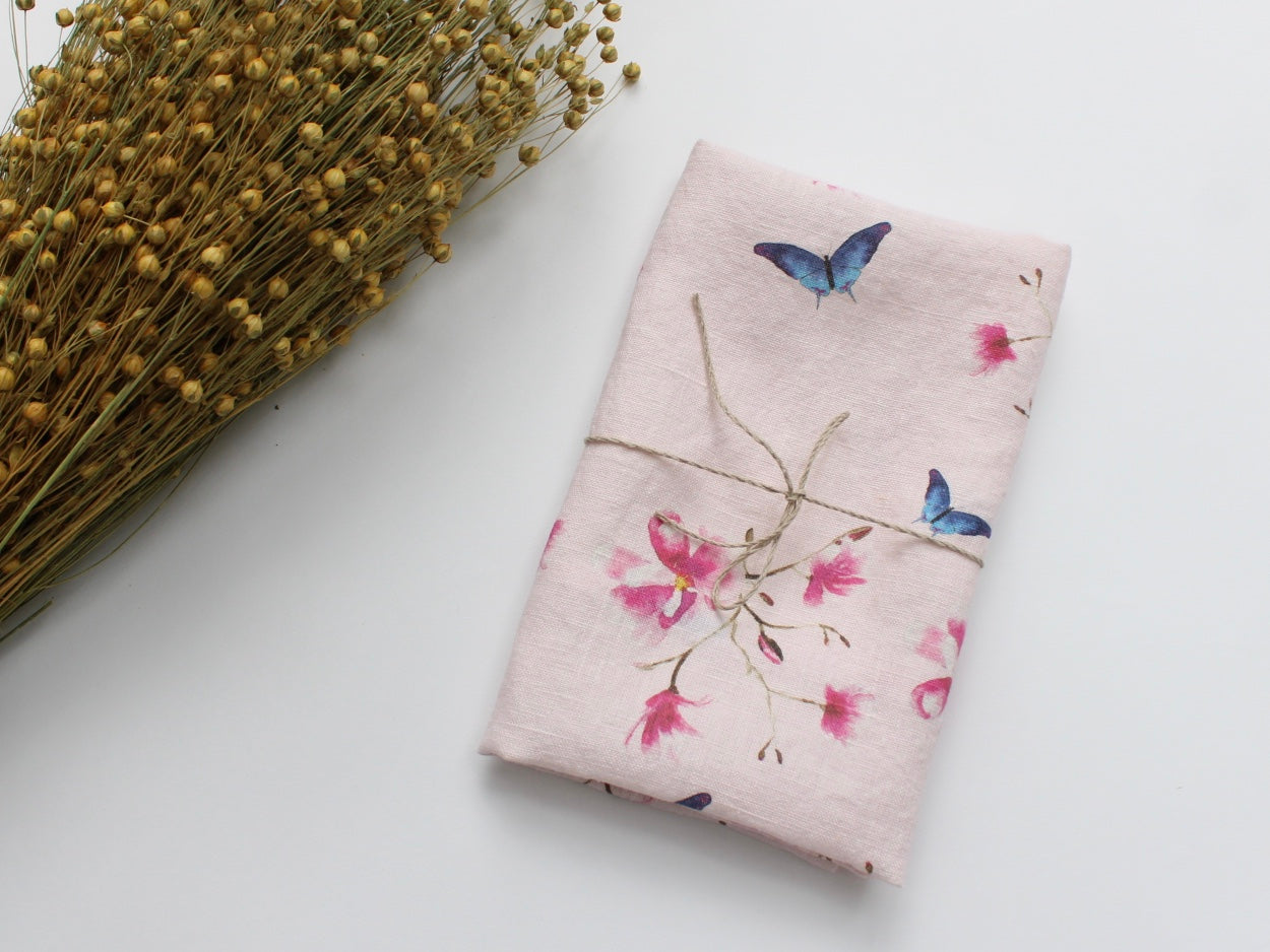Linen Tea Towel Watercolor Pink Magnolias & Butterflies