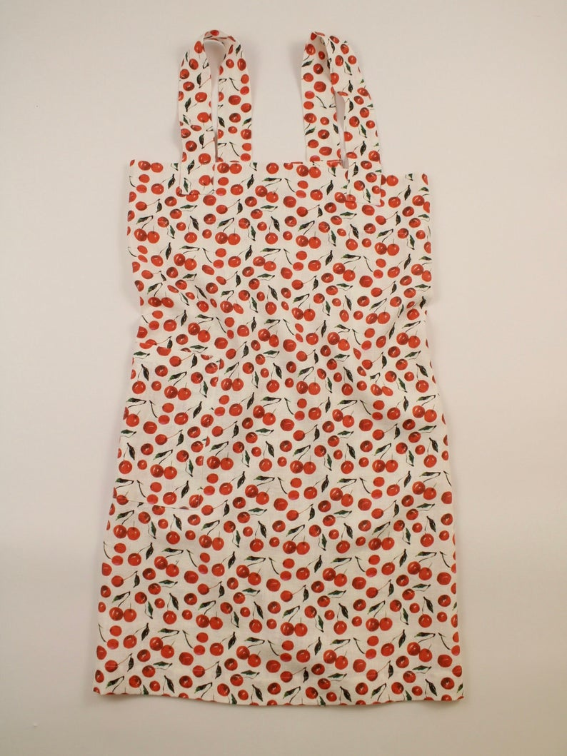 Linen cross back apron Watercolor Cherries