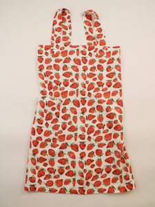 Linen cross back apron Watercolor Strawberries