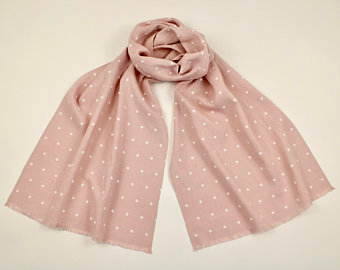 Linen Scarf Muted Pink Dogwood with White Polka Dots