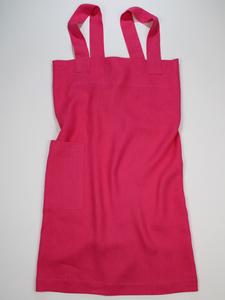 Linen cross back apron Hot Pink