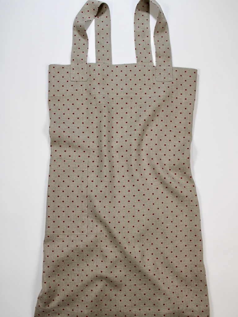 Linen cross back apron Red Polka Dots