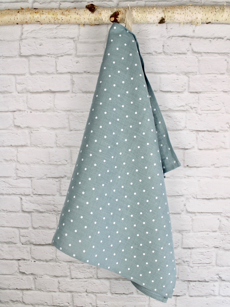 "Linen Tea Towel  ""Polka Dots"""