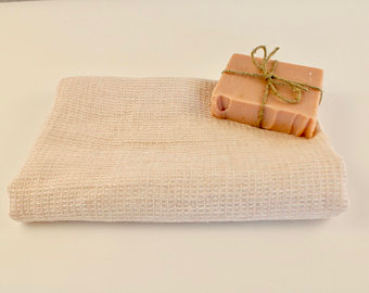 Pure Linen Face Wash Cloth Light Pale Pink Waffle Linen Soft & Luxurious