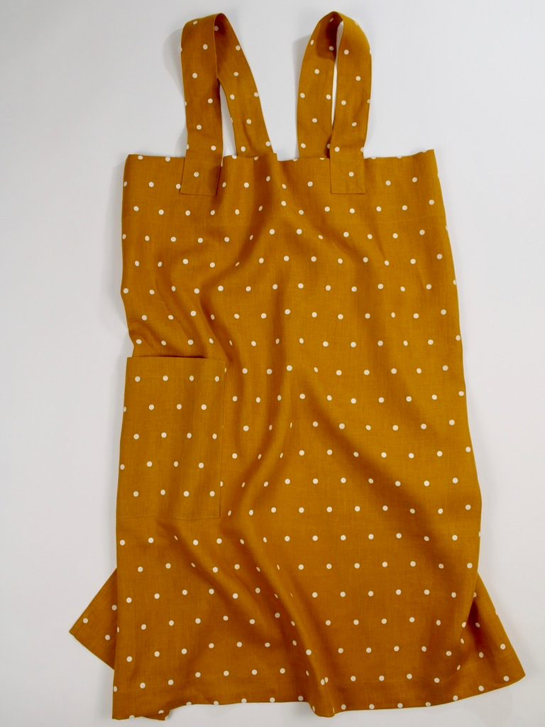 Linen cross back apron Polka Dots Turmeric Yellow