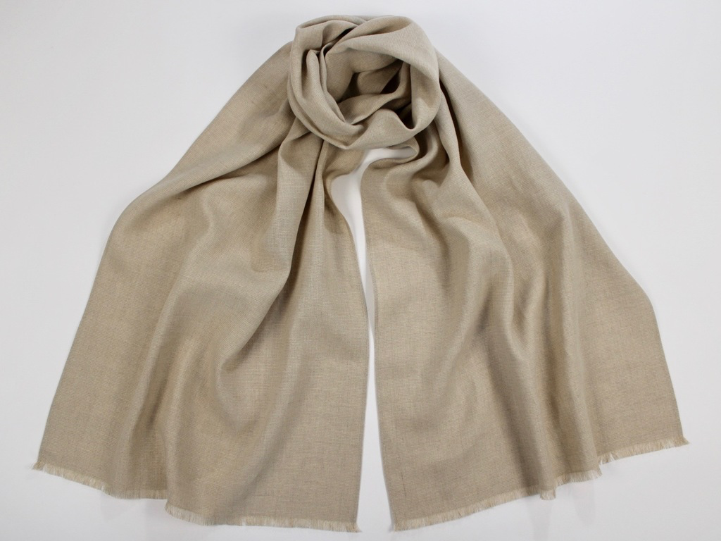 Linen Wool Winter Scarf Natural Flax