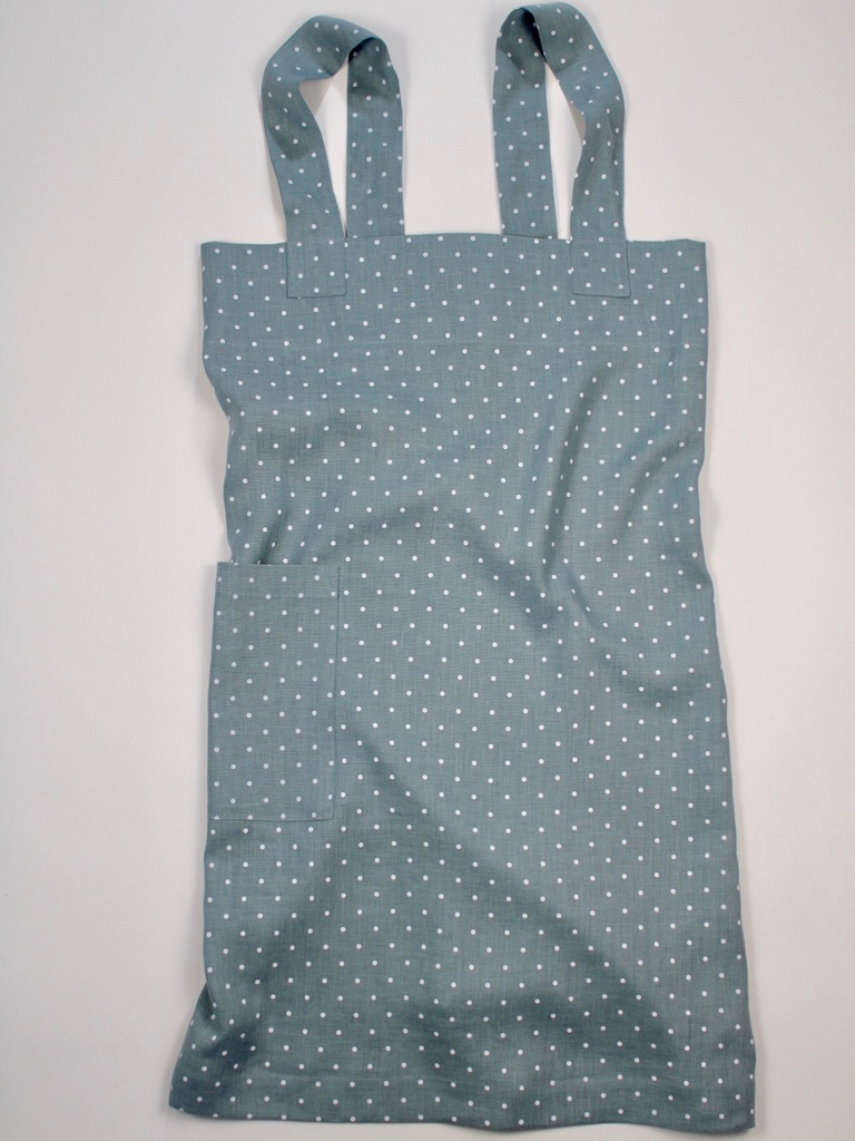 Linen cross back apron Polka Dot Light Blue