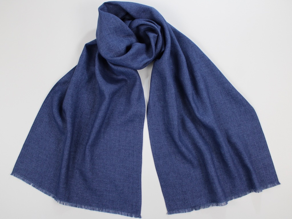 Linen Wool Winter Scarf Denim Blue