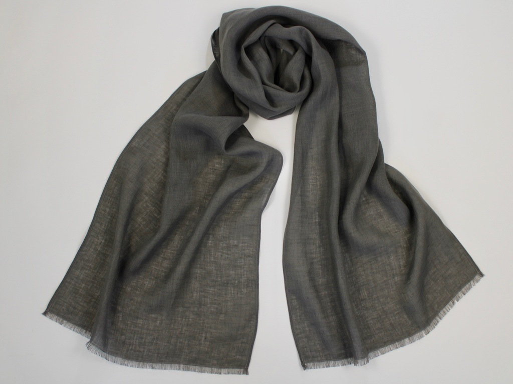 Lightweight Linen Scarf Dark Warm Gray