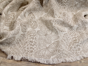 Luxury Linen Throw Blanket Woven Butterflies