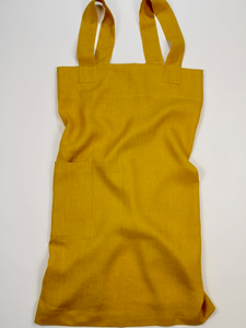 Linen cross back apron Mustard Yellow