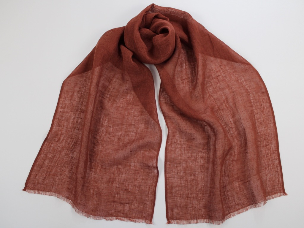 Lightweight Linen Scarf Brick Red