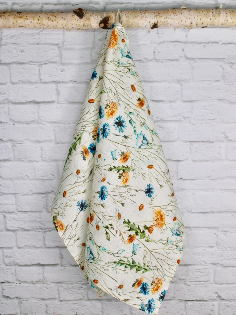 "Linen Tea Towel  ""Summer Wildflowers"""