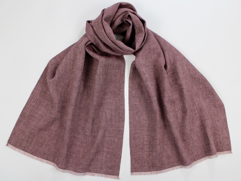 Linen Wool Winter Scarf Burgundy Brown Melange
