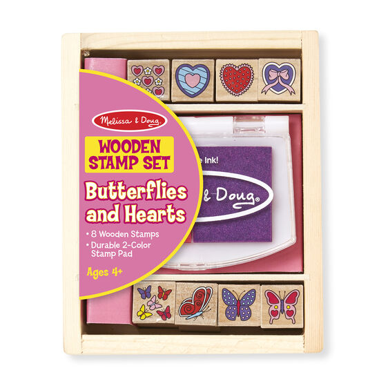 Wooden Stamp Set - Butterflies and Hearts