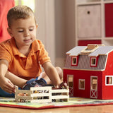 Wooden Fold & Go Barn with animals