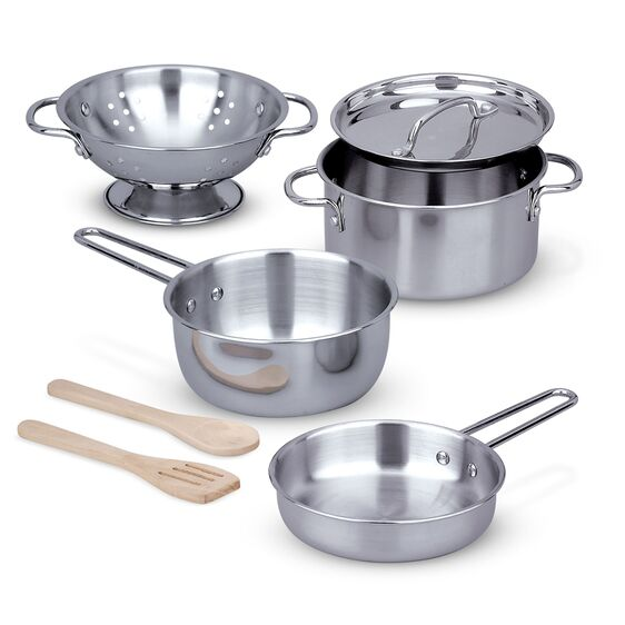 Let's Play House! Stainless Steel Pots & Pans Play Set