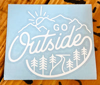 """Go Outside"" White Outline Vinyl Sticker"