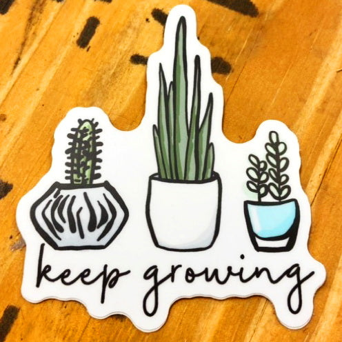 """Keep Growing"" 3 Potted Plants Vinyl Sticker - Local Exclusive"