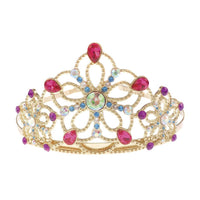 BEJEWELLED TIARA, GOLD METAL TAIRA WITH MULTI GEMS
