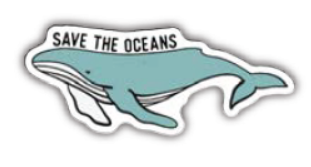 """Save the Ocean"" Whale Vinyl Sticker"