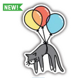 Cat Carried Away by Balloons Vinyl Sticker
