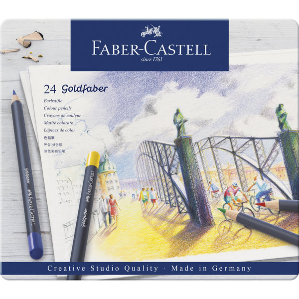 Goldfaber Color Pencils - Tin of 24 High Quality Colored Pencils by Faber Castell