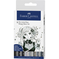 Pitt Artist Pen® Manga Basic - Wallet of 8 Black & Gray Pens by Faber-Castell