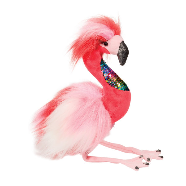 "Phyllis Flamingo Fur Fuzzle, 13"" Douglas Cuddle Plush with Sequins"