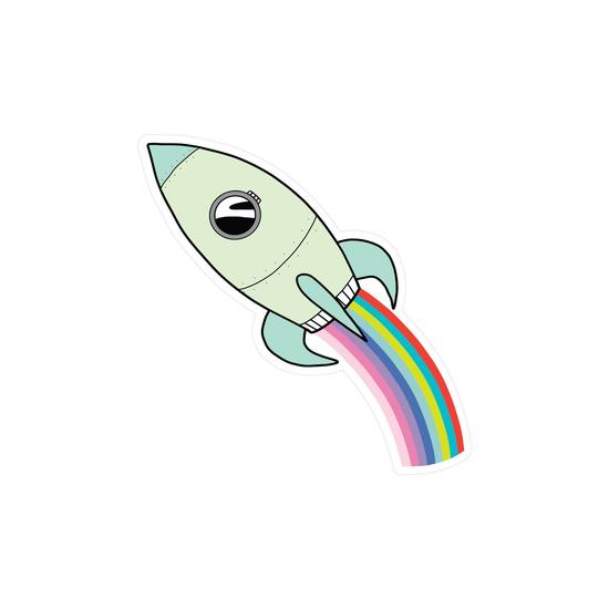 RAINBOW ROCKET VINYL Sticker by Pipsticks