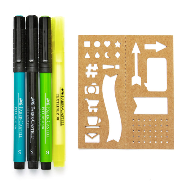 Pitt Artist Pen® Journaling Art Set with 3 Pens & Stencils by Faber-Castell