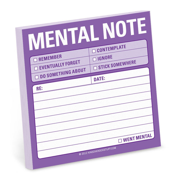Mental Note Sticky Notes Pad