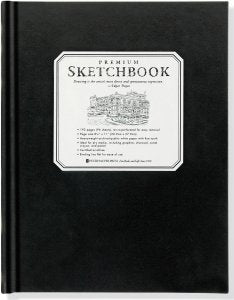LARGE BLACK PREMIUM ART SKETCHBOOK 8-1/2'' x 11''