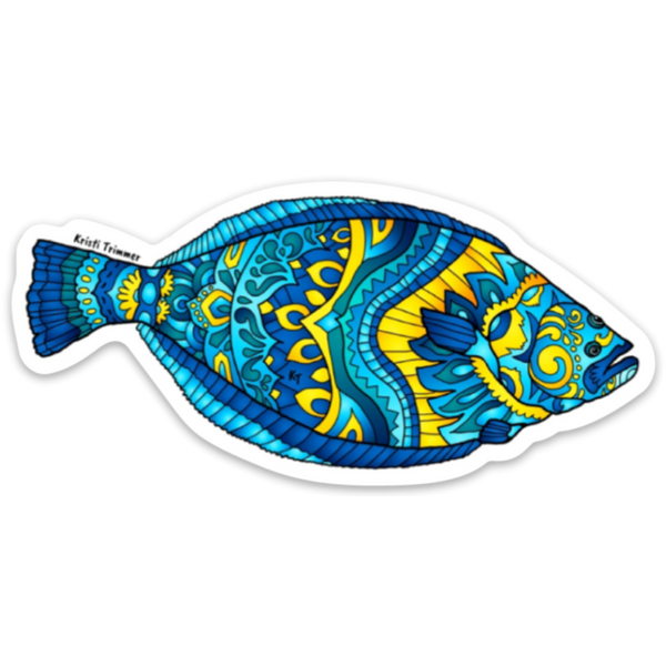 "Halibut Sticker 3"" by Alaska Artist Kristi Trimmer"
