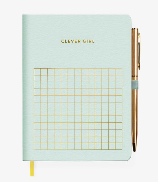 FRINGE STUDIO CLEVER GIRL JOURNAL WITH SLIM PEN, FAUX LEATHER COVER
