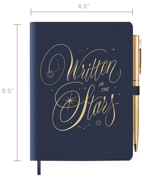 FRINGE STUDIO WRITTEN STARS JOURNAL WITH SLIM PEN, VEGAN LEATHER COVER
