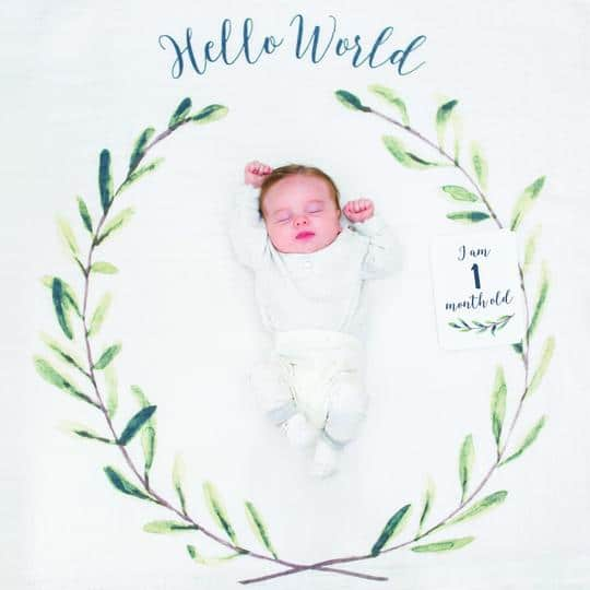"Baby's First Year Blanket & Monthly Milestone Cards Set, ""Hello World"" by Lulujo"