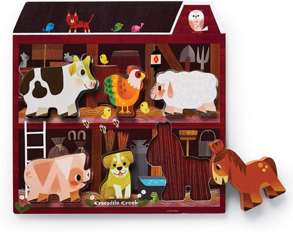 Let's Play On The Farm Wood Puzzle and Playset