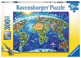 World Landmarks Map, 300pc Puzzle by Ravensburger