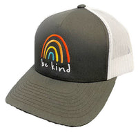 """BE KIND"" Rainbow Trucker Cap Charcoal, Adult One-Size"