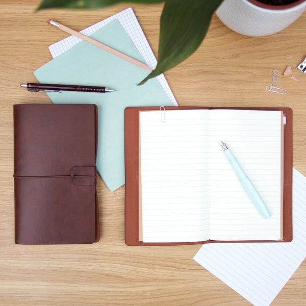 Faux Leather Notebooks with Slots, Pockets, and Journal Pages