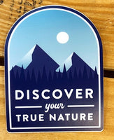 """Discover Your True Nature"" Mountain Vinyl Sticker"