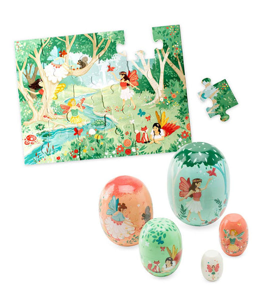 Fairy Nesting Wooden Eggs Set with Puzzle Pieces Inside