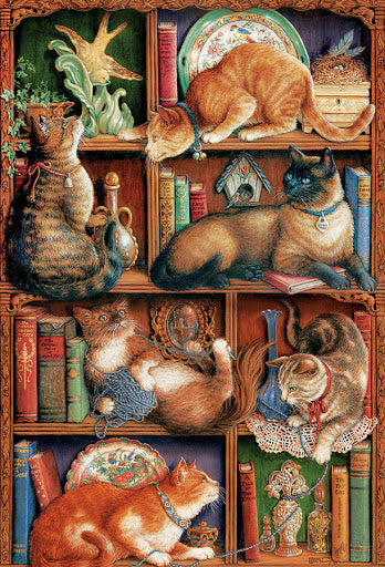 Feline Bookcase, 2000pc Puzzle by Cobble Hill