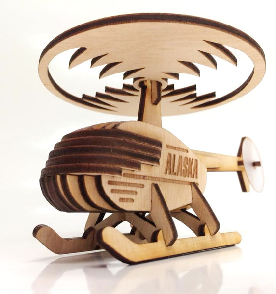 Alaska Helicopter Ornament Wooden 3D Puzzle Kit