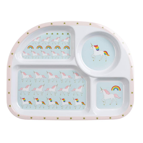 Rainbow Unicorn Childrens Melamine Dishes Collection: Plate, Cup, Bowl, Utensils, Lunch Box