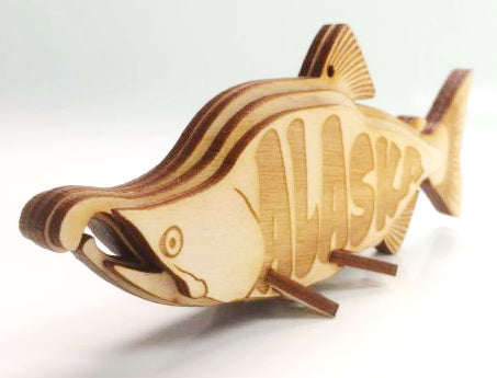 Alaskan Salmon Ornament Wooden 3D Puzzle Kit