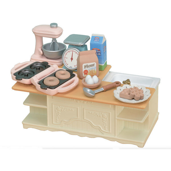 Calico Critters Kitchen Island, 18pc including counter, mixer, dishes, and food